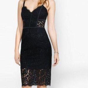 Express Black Lace Midi Dress